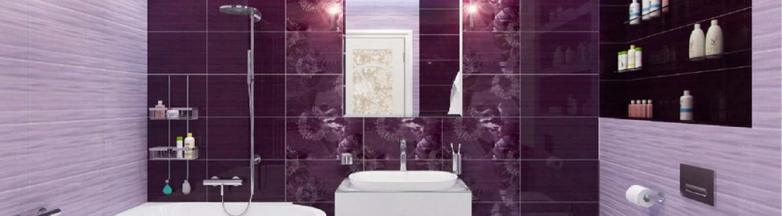 'Варианты использования фиолетовой палитры в ванной комнате