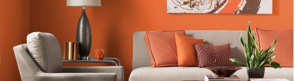 'Удачное использование оранжевого оттенка в интерьере разных комнат