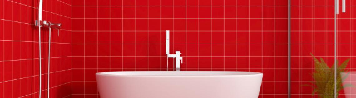 'Особенности применения красного цвета в дизайне ванной комнаты