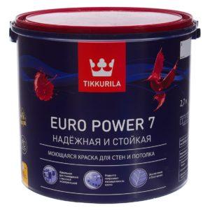Краска Тиккурила Евро Power7 (белая 9 литров, база А)