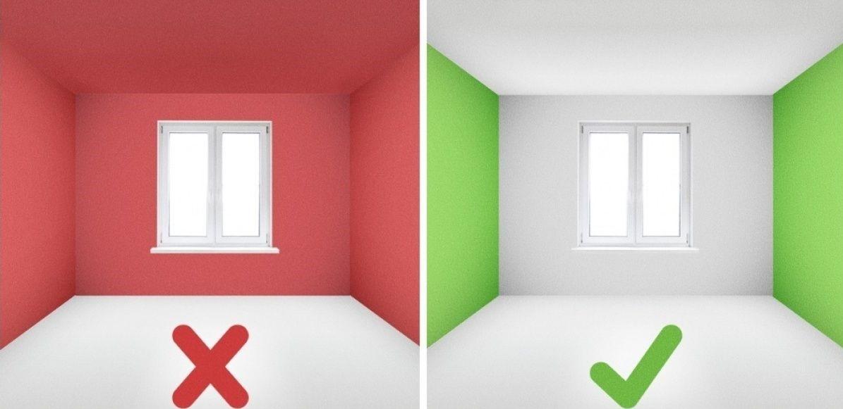 цветная лишь дальняя стена