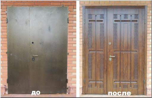 старая дверь до и после