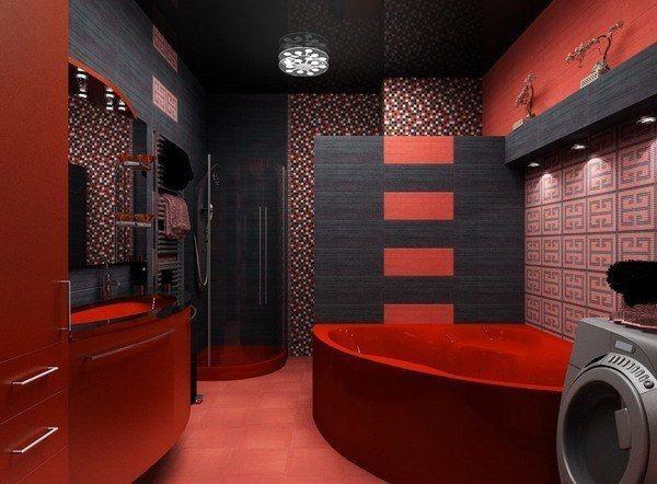 красно черная ванная комната