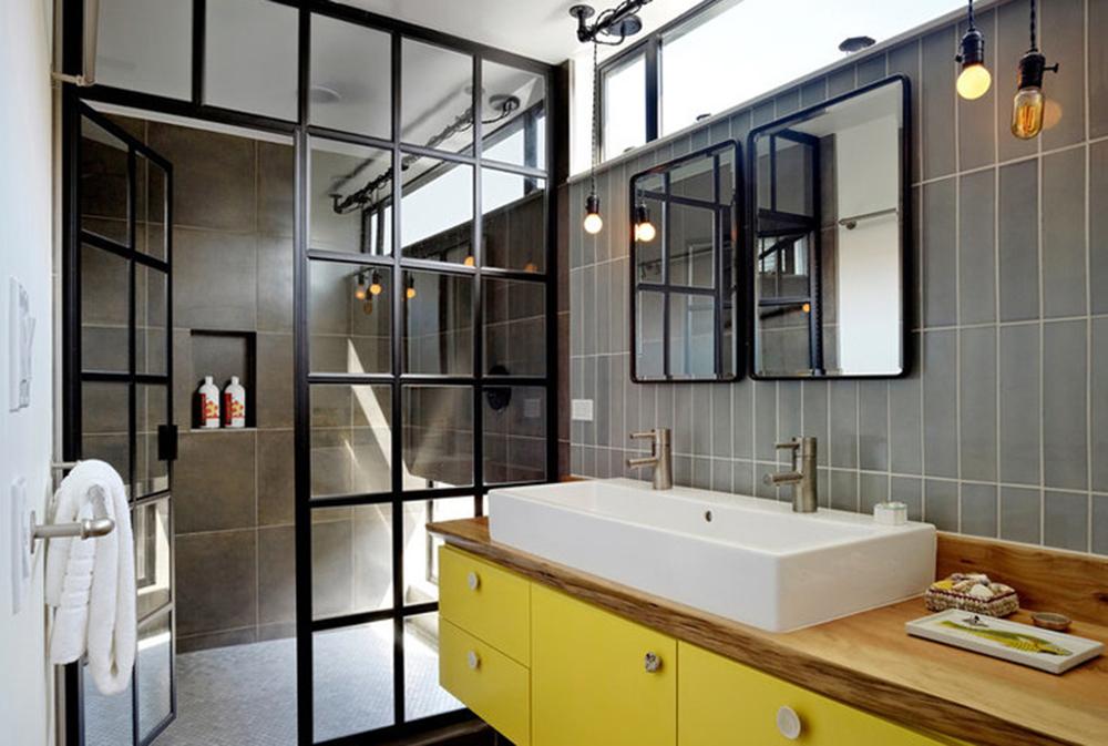 серо желтая ванная комната