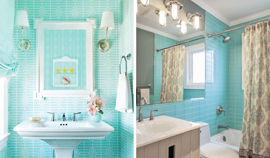 цвет тиффани в интерьере ванной