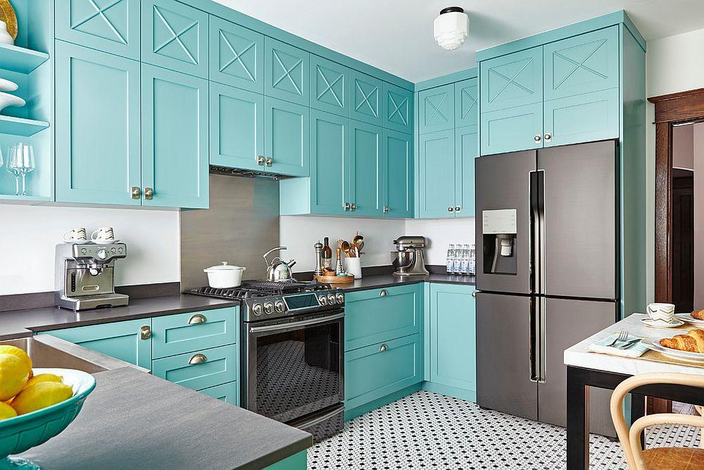 цвет тиффани в интерьере кухни