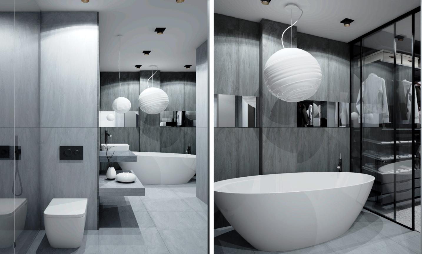 современная ванная в сером цвете