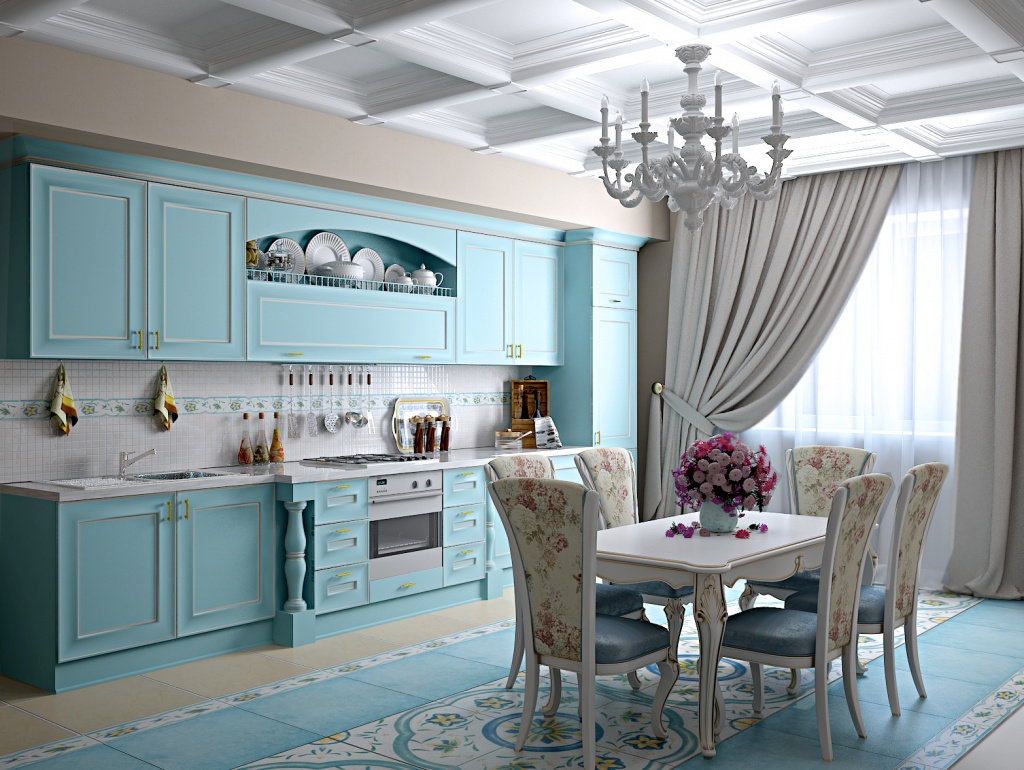 кухня цвета тиффани в стиле прованс