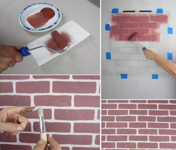 Окрашивание стен с под камень