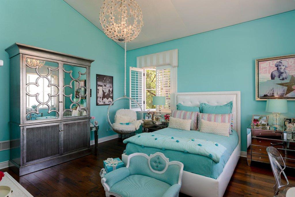 цвет тиффани в интерьере спальни