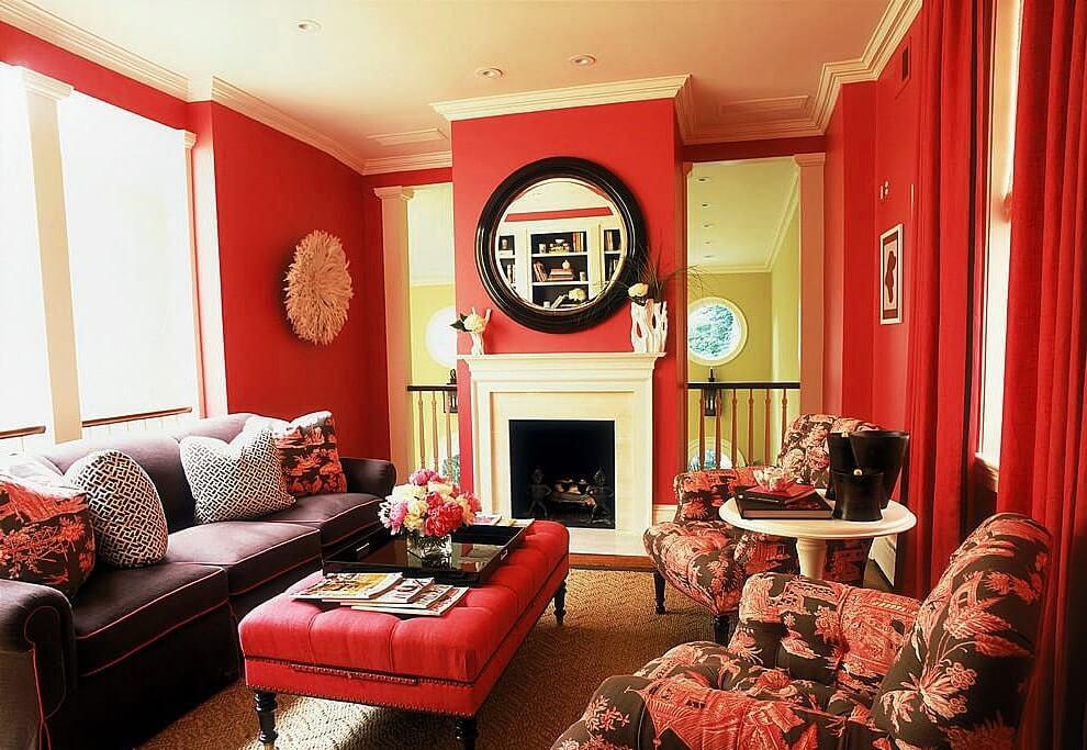 интерьер гостиной в красном цвете