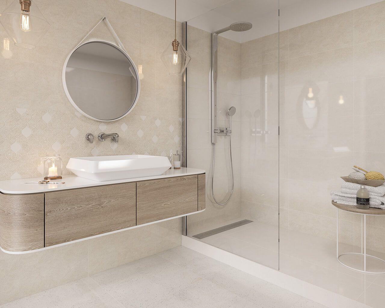 бело-бежевая ванная комната