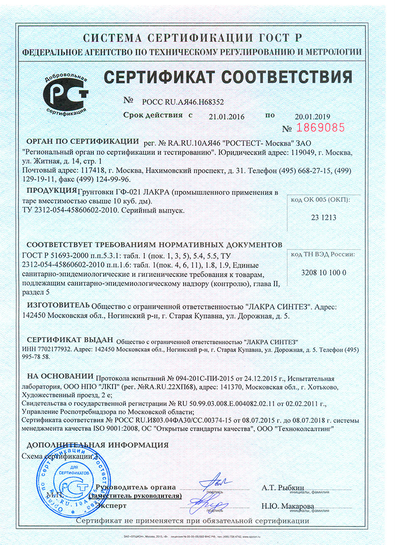 сертификат на грунтовку гф-021