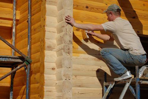 грунтование деревянного бруса