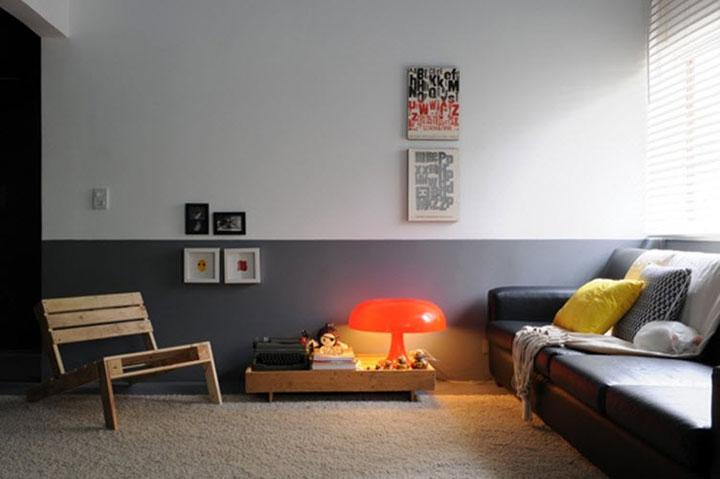 горизонтальное окрашивание стен в два цвета