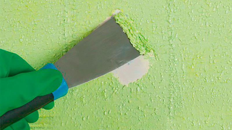 удаление краски шпателем