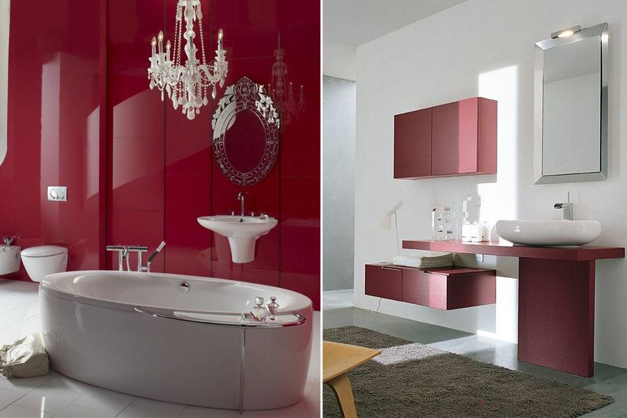 бордовый интерьер ванная