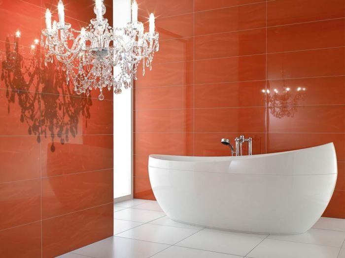 терракотовый интерьер ванная