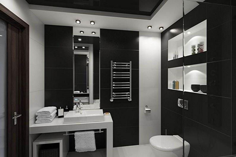 Дизайн интерьера ванной комнаты в черных тонах