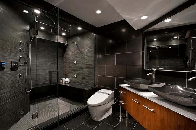 черная ванная в стиле модерн