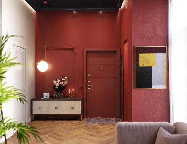 бордовый интерьер коридор