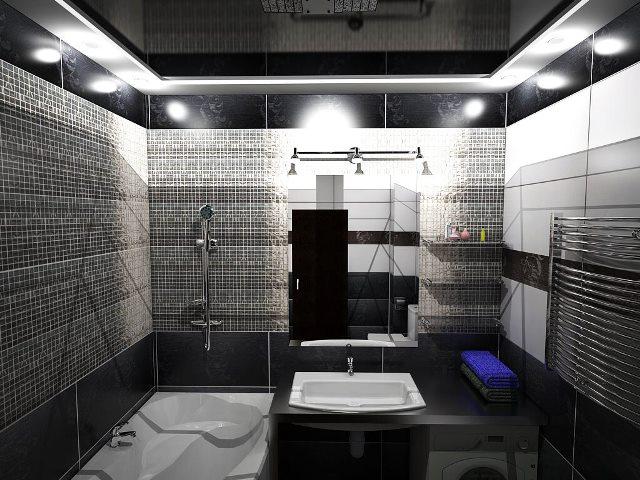 черные потолок в ванной
