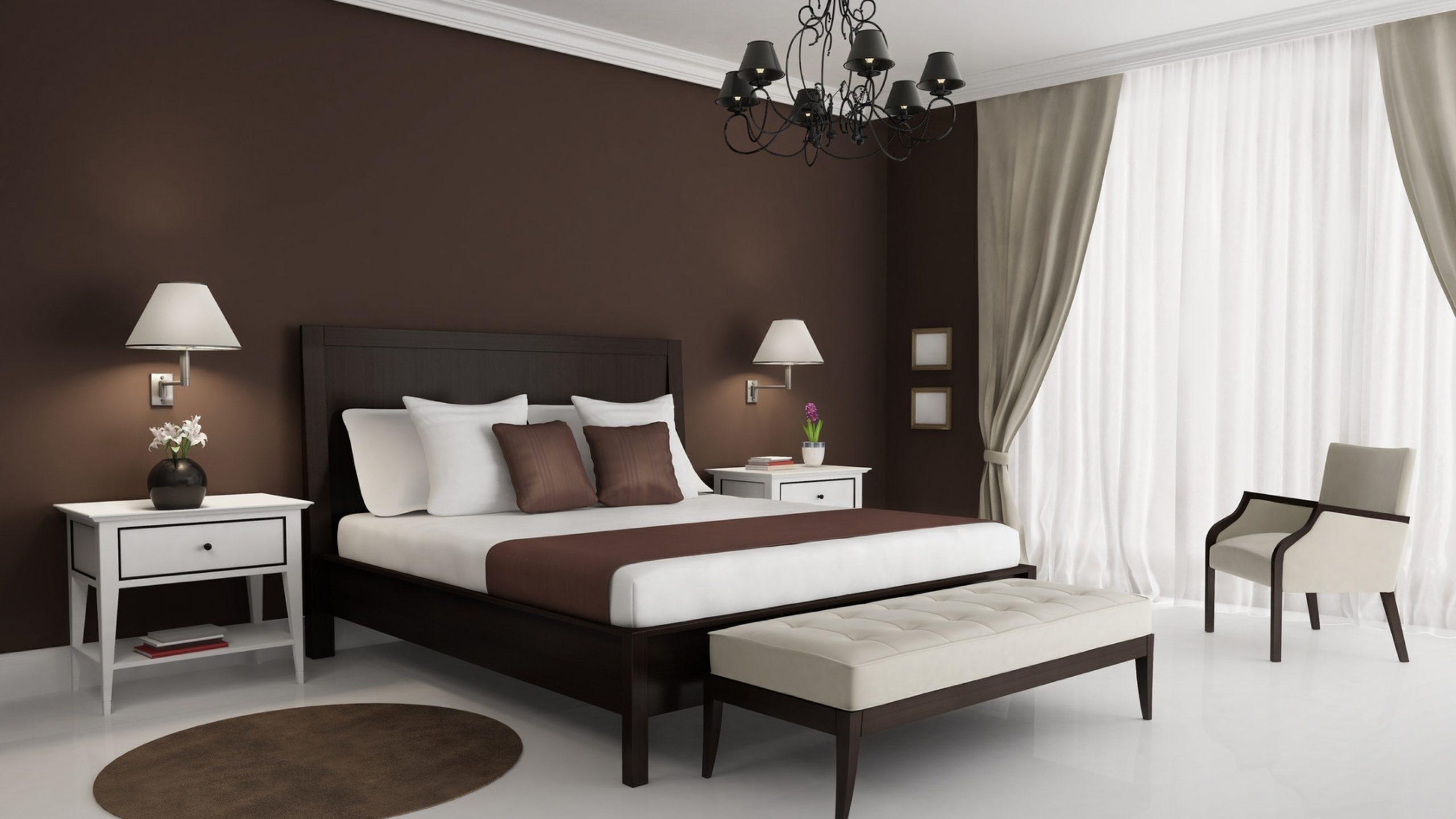 шоколадные стены в интерьере