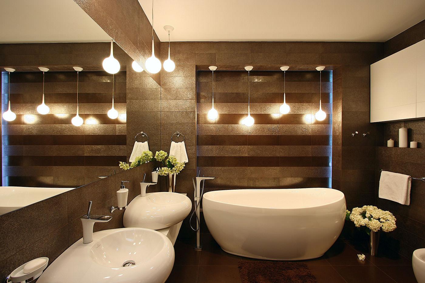 шоколадный интерьер ванная