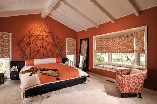 терракотовый интерьер спальня