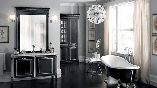 черная ванная в классическом стиле
