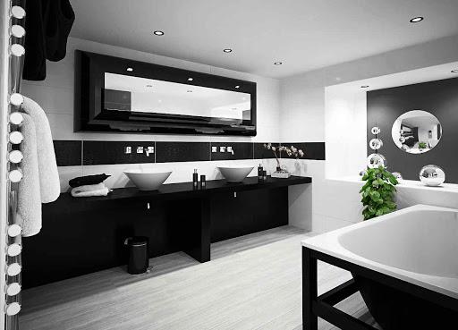 черная мебель в ванной