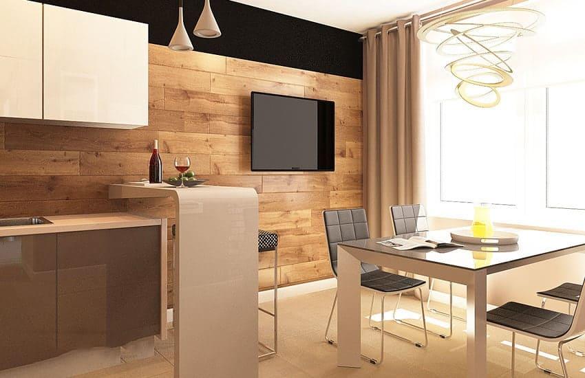 ламинат на стене на кухне