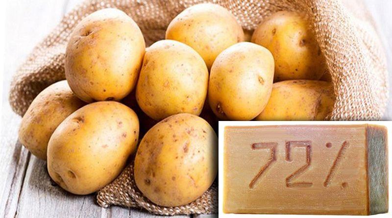 картофель и мыло для удаления ржавчины