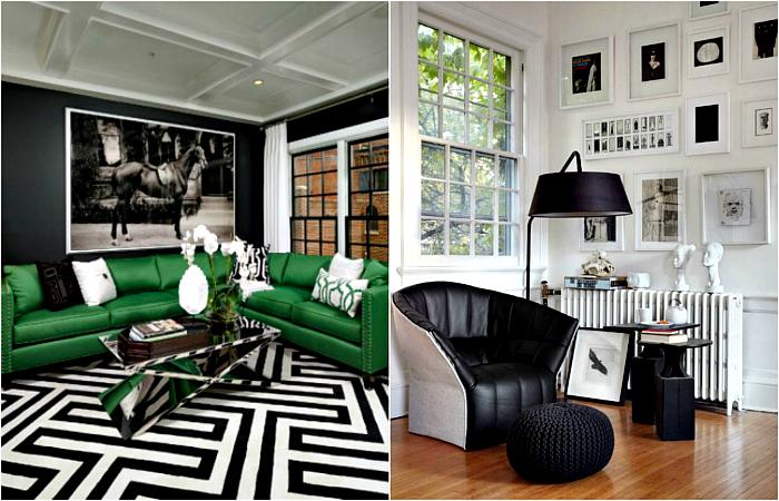 черно-белый интерьер с зеленым
