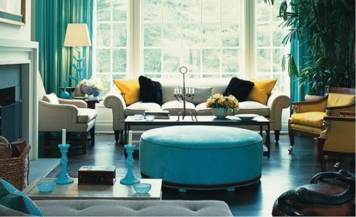 бирюзовый и синий цвет в интерьере