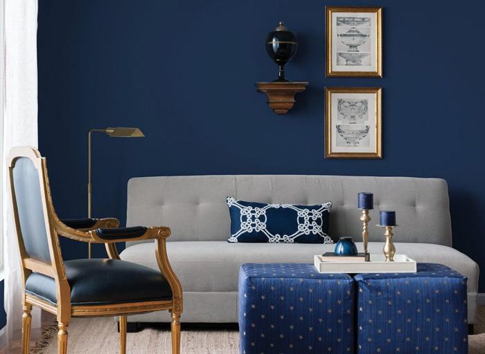 синий с серым интерьер