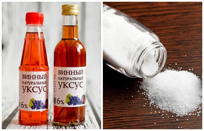 винный уксус и соль от ржавчины
