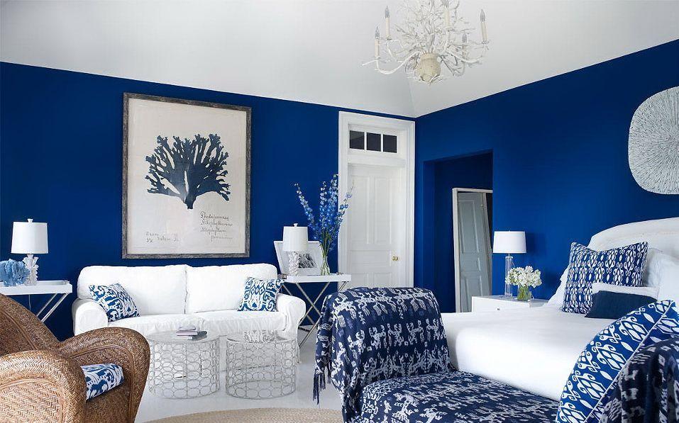 синий с белым интерьер