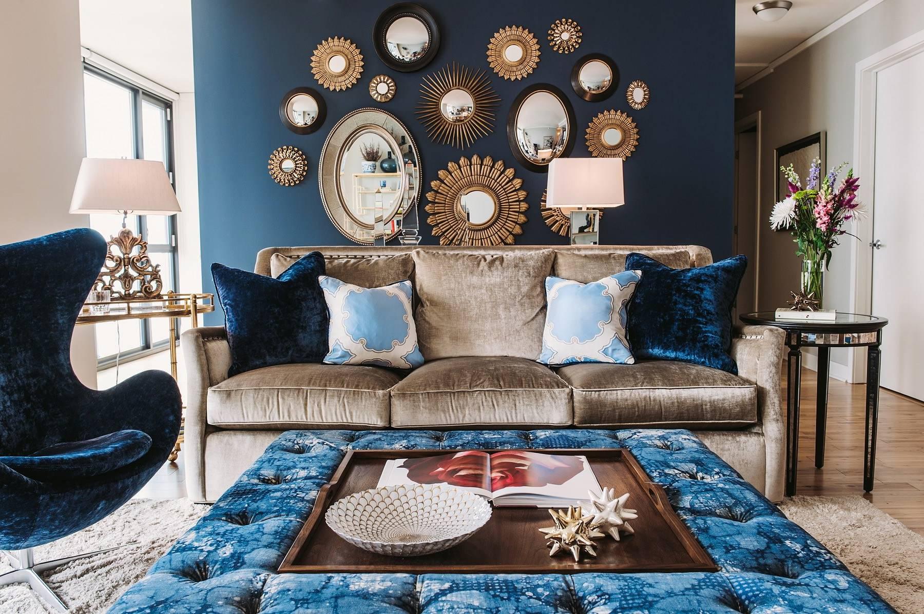 синий с коричневым в интерьере