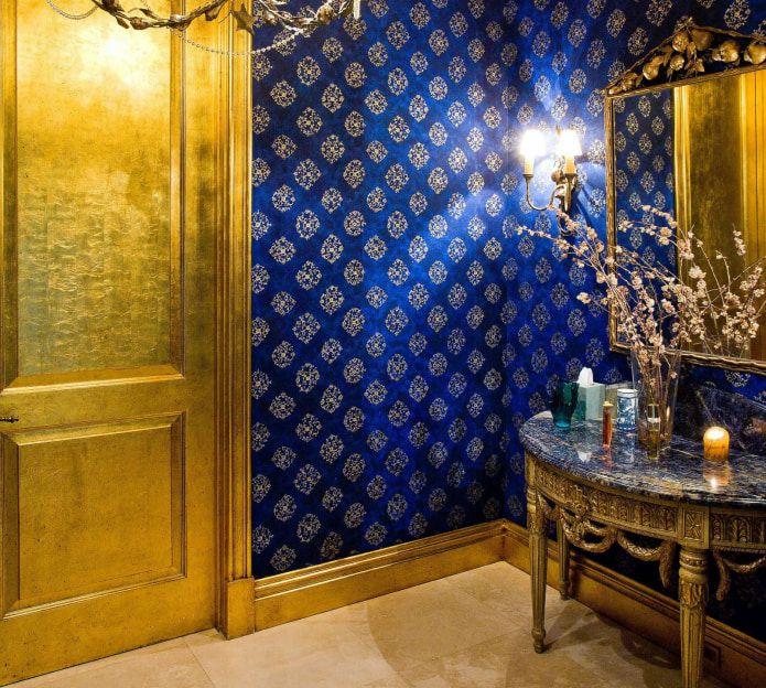 синий с золотом в интерьере