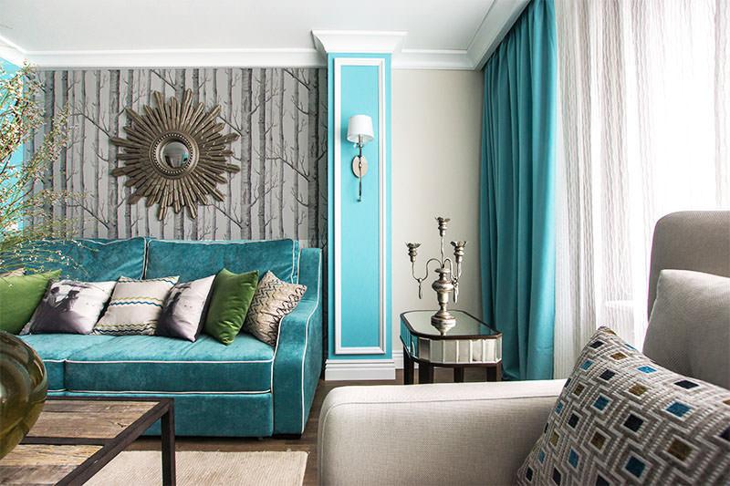 бирюзовый цвет в интерьере гостинной