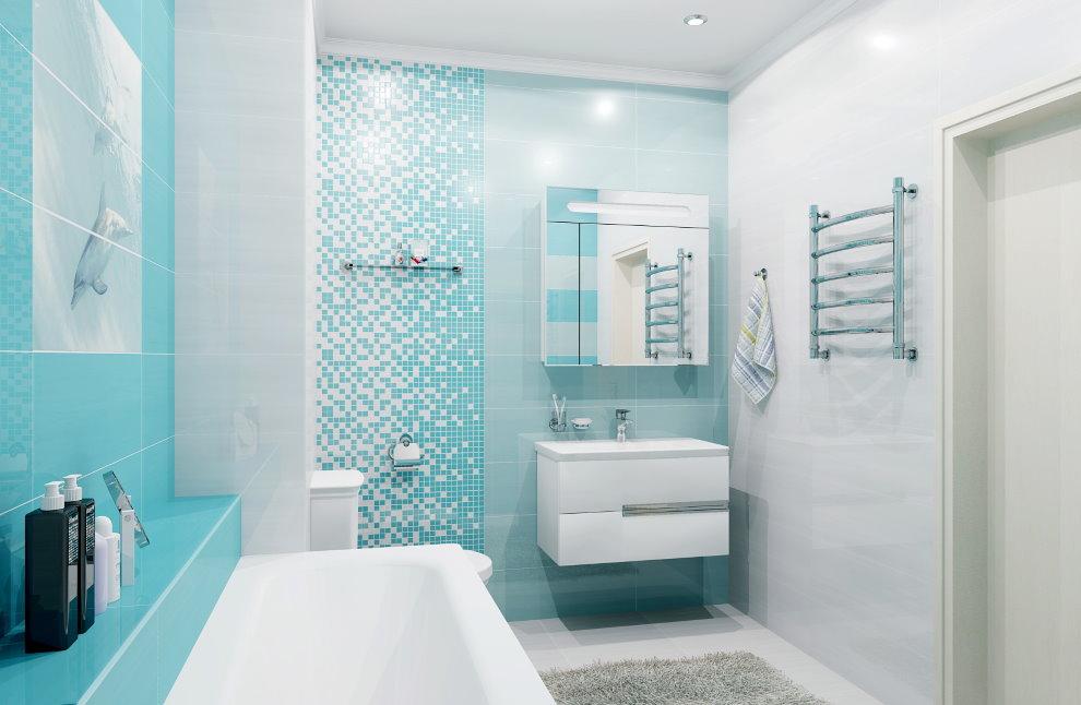 бирюзовый цвет в интерьере ванной