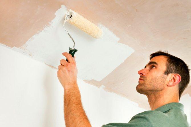 грунтование потолка мастером