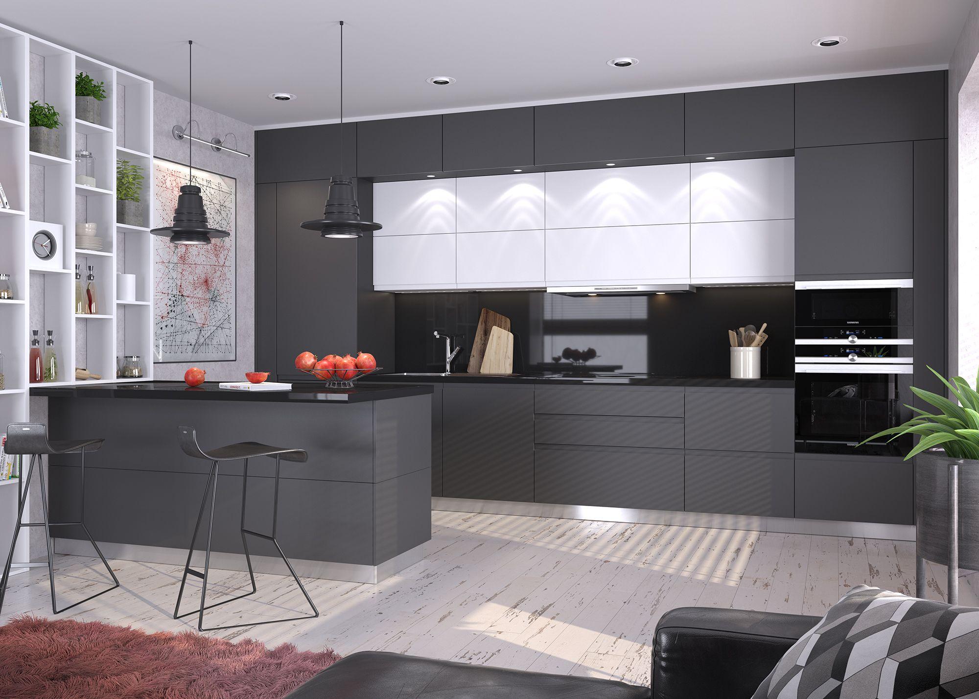 черно-белая кухня в стиле минимализм