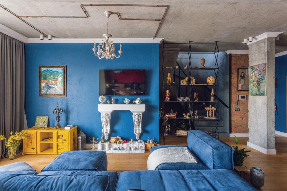 синий интерьер в стиле лофт