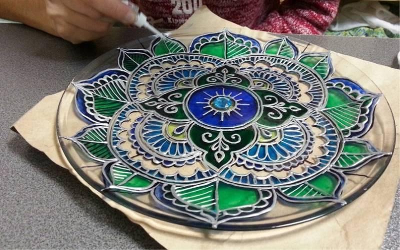 рисование витражными красками по стеклу