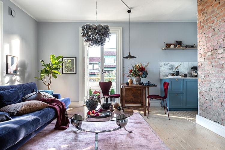 синий интерьер в скандинавском стиле