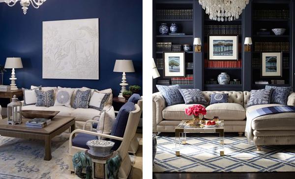 синий цвет в классическом интерьере