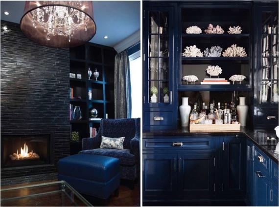 синий с черным интерьер