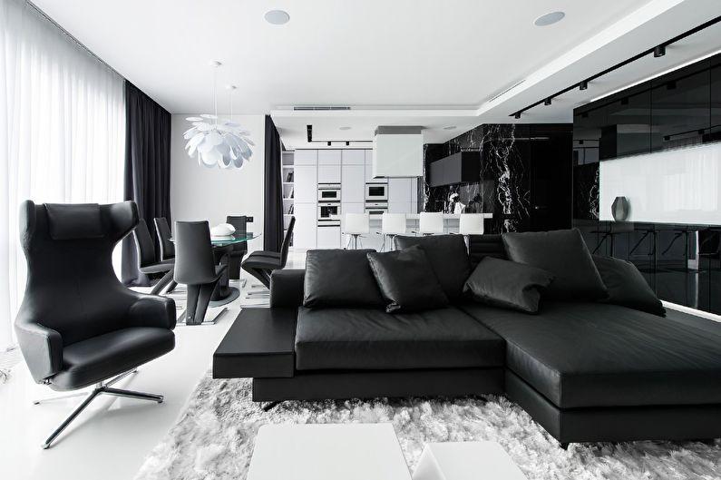 черно белый интерьер гостинной